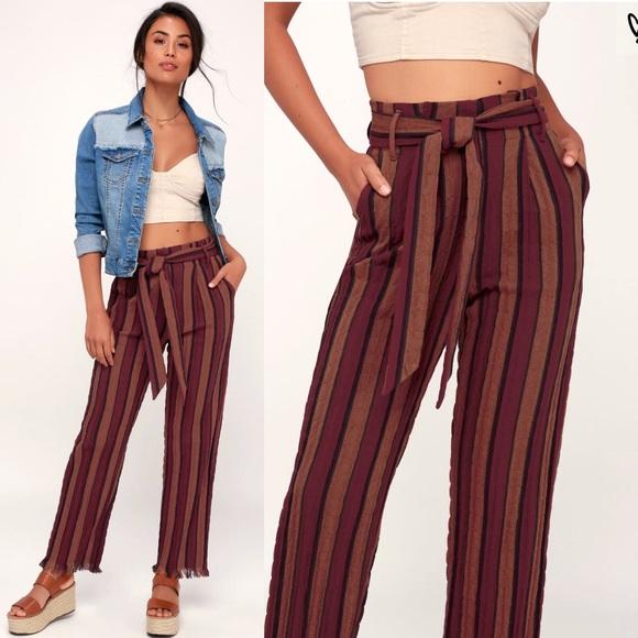 894b9c74d92827 Lulu's Pants   Lulus Burgundy Striped   Poshmark